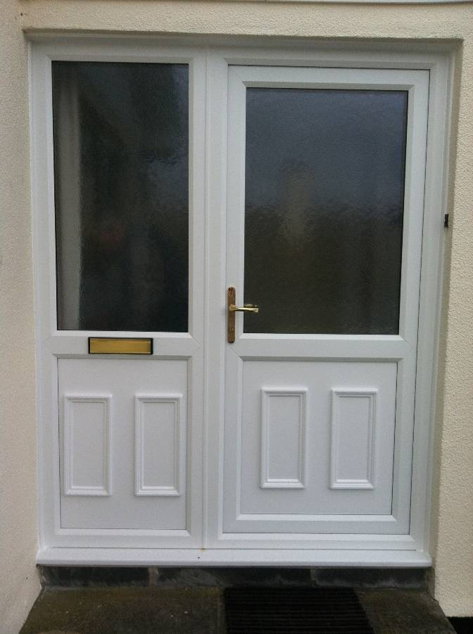 ... White Door and Side Panel With Decorative panels ... & Window Manufacturers in Cornwall : Newquay Plastic