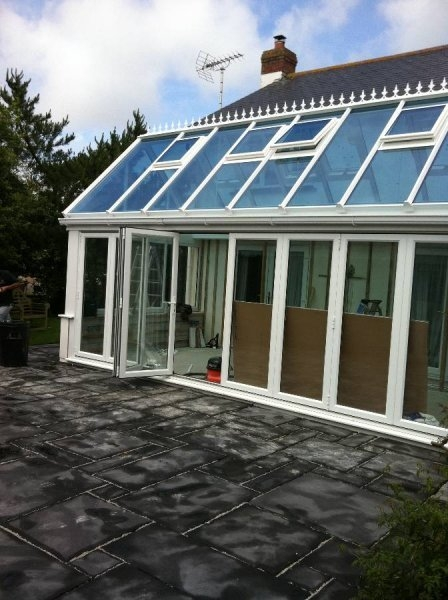 Glass Roof Gable Conservatory With Bi Fold Doors 2