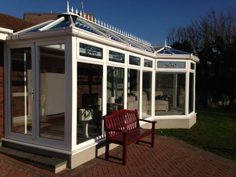 P Shaped Glass Roof Conservatory With Pitched Roof Modification 3