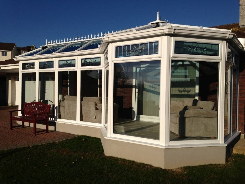 P Shaped Glass Roof Conservatory With Pitched Roof Modification 5