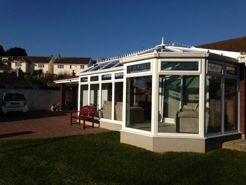 P Shaped Glass Roof Conservatory With Pitched Roof Modification 6