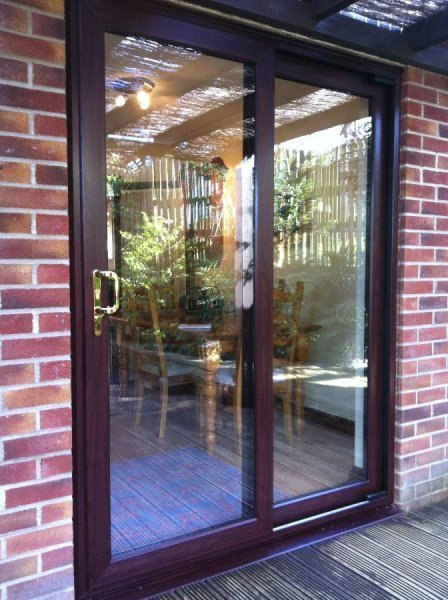 Rosewood PVC Sliding Patio Doors