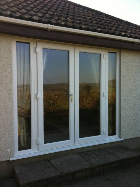 White PVC French Doors With Adjacent Side Panels