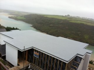 Fibreglass Flat Roof On A House