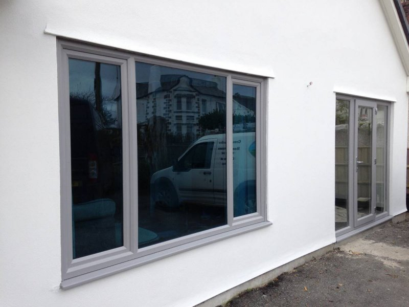 Bespoke Colur Grey PVC Window With Blue Glass 3