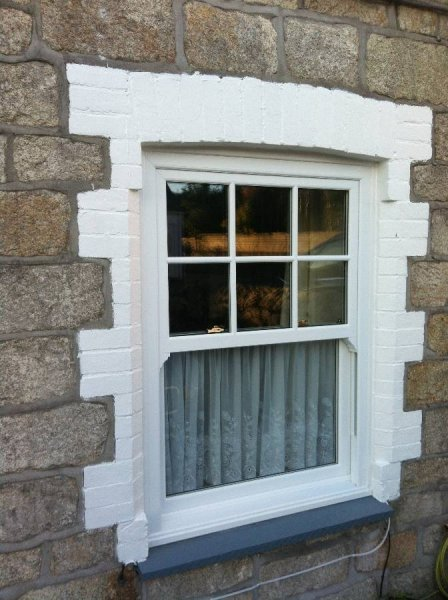 Vertical Sliding Vox Sash PVC Window With Georgian Bars To The Top Half