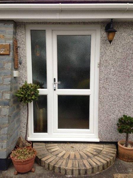 White Pvc Door Side Panel Glass Top Glass Bottom